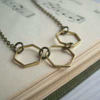 Golden Honeycomb necklace - hexagons in a row - handmade
