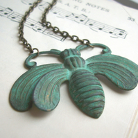 Large Honey bee necklace - ornate verdi gris pendant - blue green patina