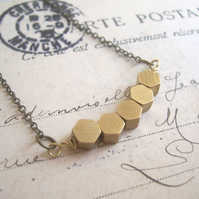 Golden Honeycomb Row necklace - solid brass hexagon beads - geometric jewellery