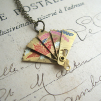 Petite Oriental Fan charm necklace - vintage folding charm with beautiful bird