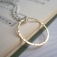 Gold and Silver Bubble necklace - mixed metals - simple hammered gold circle