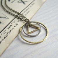 Mixed Geometric charm necklace - petite circles and triangle - mixed metals
