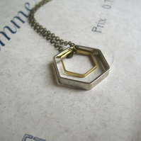 Double Hexagon charm necklace - geometric mixed metals on brass - modern