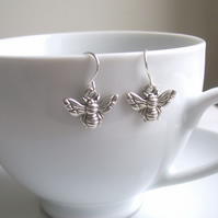 Petite Silver Bee charm earrings - little bees in silver - miniatures