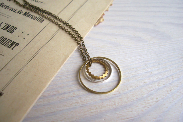 Layered Circles in mixed metals - In Orbit charm necklace - hoops - minimalist