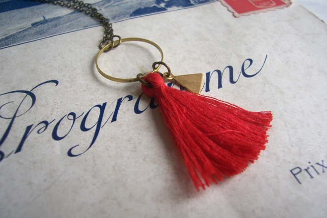 Red Tassel necklace with Triangle charm - cotton and brass on fine chain - boho