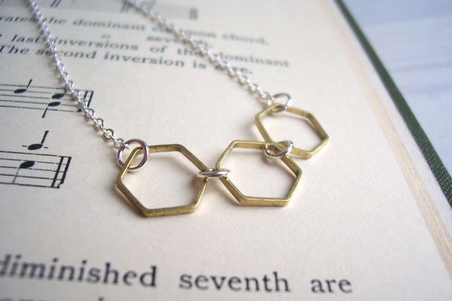 Gold and Silver Hexagon necklace - mixed metal honeycomb - delicate minimalist