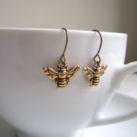 Petite Gold Bee charm earrings - little bees - gift for gardener