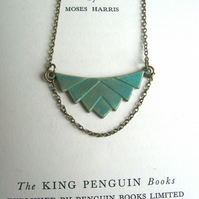 Elegant Verdi Gris Deco necklace - brass pendant with green blue patina