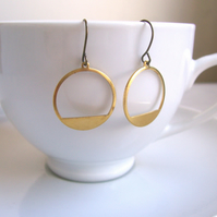 Modern Gold Hoops in raw brass - simple circles - brushed finish - minimalist