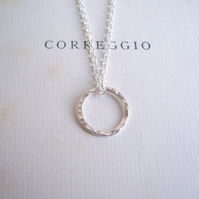 Simple Sterling Silver Circle on fine chain - minimalist jewellery - hammered