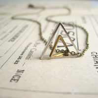 Double Triangle charm necklace - geometric mixed metals on brass - modern