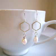 Honeycomb and Pearl hexagon earrings - golden brass geometric shapes on silver