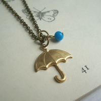Rainy Day umbrella charm necklace - gold brolly and blue glass rain drop - SALE