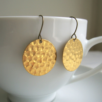 Gold Hammered Disc earrings - Golden Sun - raw brass - textured circles