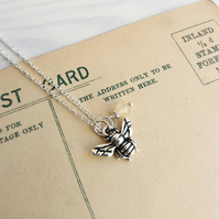 Petite Silver Bee charm necklace with lemon jade - gift for gardener