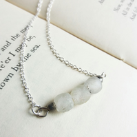 Frosted White Sea Glass necklace - frosted beads on silver - beach jewellery