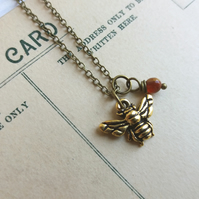 Petite Gold Bee charm necklace with carnelian - little bee - gift for gardener