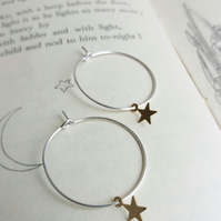 Little Stars hoop earrings - mixed metals - golden brass and silver - night sky