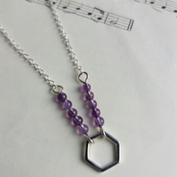 Silver and Amethyst Hexagon necklace - geometric jewellery - SALE