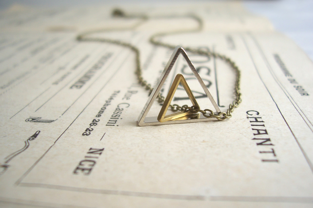 Double Triangle charm necklace - geometric mixed metals on brass - minimalist