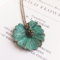 Lily Pad leaf necklace - with seed charm - green blue patina on raw brass
