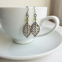 Delicate Leaves earrings with green bead - leaf charms - gift for gardener