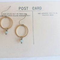 Golden Hoops with Aventurines - drop earrings - moss green gem stones and brass