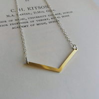 Gold Chevron necklace - on silver - V shape pendant - minimalist jewellery