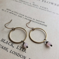 Golden Hoops with Rose Quartz - drop earrings - pale pink gem stones and brass