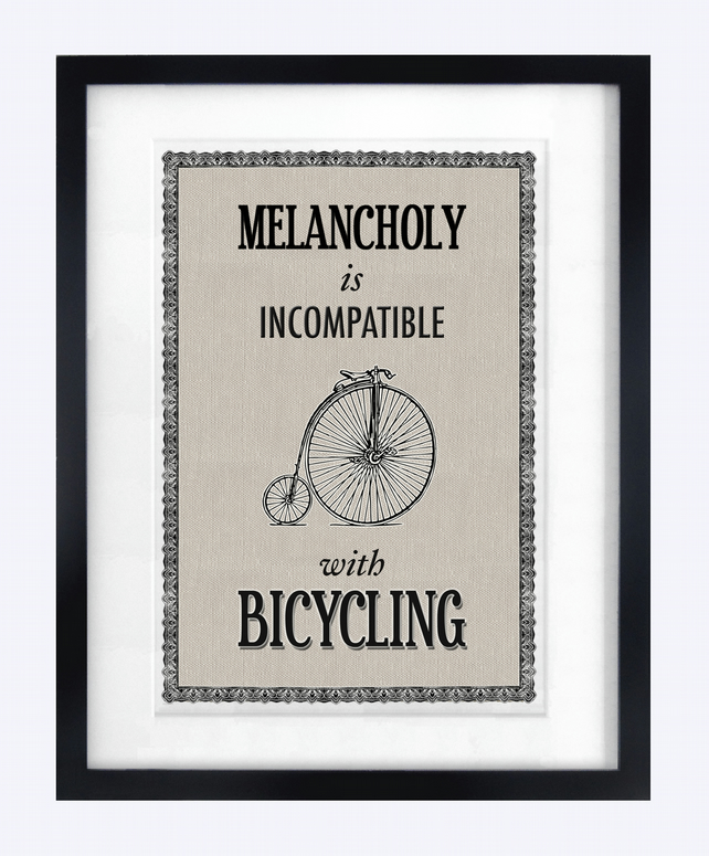 Vintage Bicycle Typographic Print - Ideal Christmas Gift
