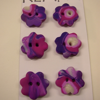 Fimo Purple Flowers Buttons