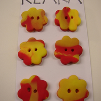 Fimo Bright Flowers Buttons