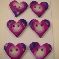 Fimo Target Heart Buttons