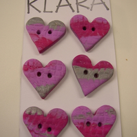 Fimo Pink Heart Textured Buttons