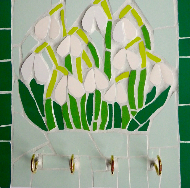 Mosaic flower key rack