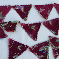 Mini Toy Bunting red oriental silk
