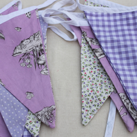 Purple flower faries  bunting