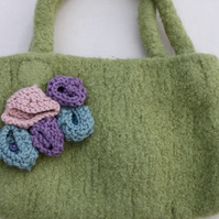 Felt  green handbag with knitted flowers