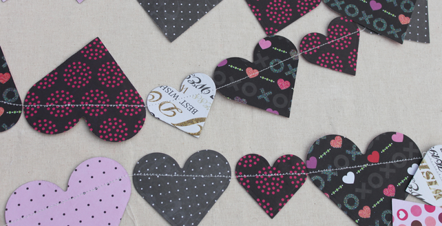 Pink, black and cream hearts Bunting