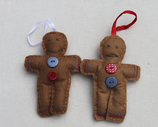 Two gingerbread men Christmas decorations