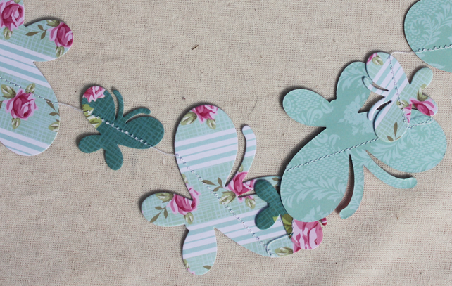 Butterflies and dragonflies paper bunting in blue and green