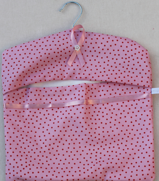 Spotty pink and red  peg bag