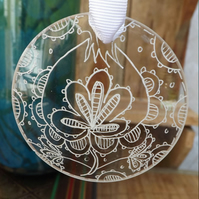Up-cycled, Reclaimed Glass lens decoration -Jacobean flower -hand drawn