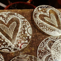 Up-cycled, Reclaimed Glass lens decoration -Eliza Heart -hand drawn