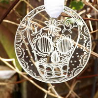 Up-cycled Engraved Sugar Skull glass lens decoration, Gothic, Día de Muertos