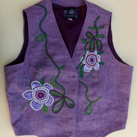 Embroidered vintage up-cycled wool waistcoat. Lavender wool fabric. Size 14.