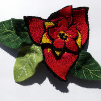 Red embroidered 3D floral corsage, prom accessory, embroidered brooch,