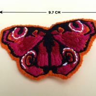 Orange and red embroidered butterfly, prom accessory, embroidered brooch,