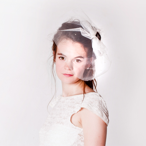 'Viva' Tulle and Diamante Birdcage Wedding Veil
